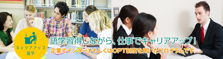 語学習得しながら、仕事でキャリアアップ!企業でインターンもしくはOPT制度を用いたプログラムです。
